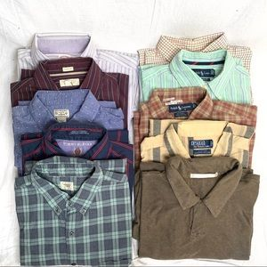 Lot of 9 Mens Button Up shirts size large